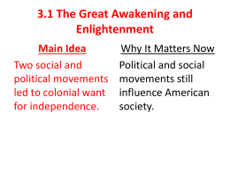3.1 The Great Awakening and Enlightenment Main Idea