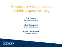Optimizing Web Content for Mobile/Responsive Design