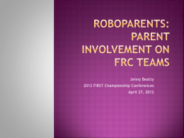 RoboParents: Parent Involvement on FRC Teams