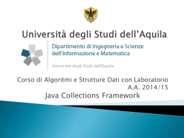 Java Collections Framework - University of L`Aquila