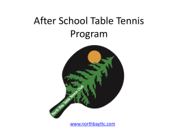 After School Table Tennis Program Proposal