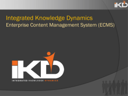 DMS - Integrated Knowledge Dynamics