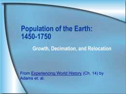 Population of the Earth: 1450-1750
