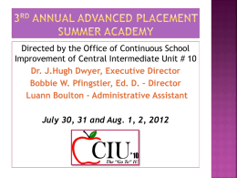 3rd Annual Advanced Placement Summer Academy