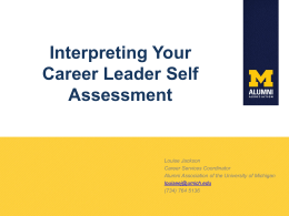 Interpreting Your Career Leader Self Assessment