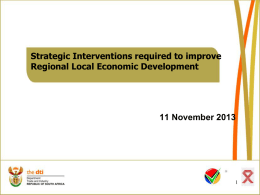 Strategic Interventions required to improve Regional