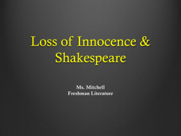 Loss of Innocence and Shakespeare - msmitchellenglish