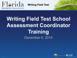 Writing Field Test - Assessment, Research, and Data Analysis