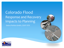 Colorado Response and Recovery: Impacts to Planning