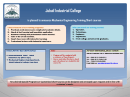 Jubail Industrial College is pleased to announce Mechanical