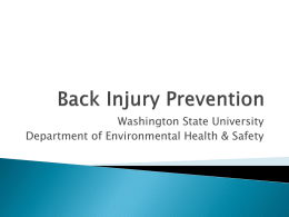 Back Injury Prevention - Environmental Health & Safety