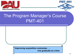 PMT-401 Brief – Industry - National Defense Industrial Association