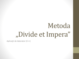 "Aplicatii ""Divide et Impera"