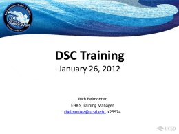 DSC Training - Environment, Health & Safety