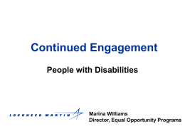 Continued Engagement: People with Disabilities