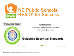 Guidance Essential Standards - NCDPI School Counseling Wiki
