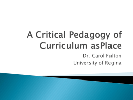 A Critical Pedagogy of Place