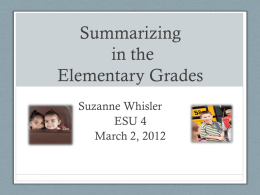 Summarizing - ESU4InstructionalStrategies