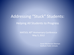 Addressing *Stuck* Students: