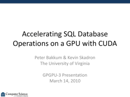 Accelerating SQL Database Operations on a GPU