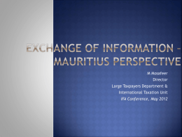 Exchange of Information * Mauritius Perspective