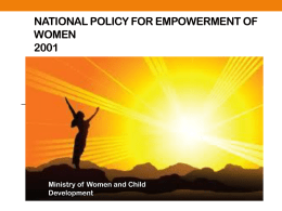 NATIONAL POLICY FOR EMPOWERMENT OF WOMEN 2001