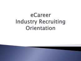 eCareer Orientation - Department of Energy and Mineral Engineering