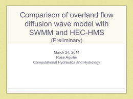 Comparison of overland flow diffusion wave model with SWMM and