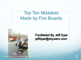 Top Ten Mistakes Made by Fire Boards
