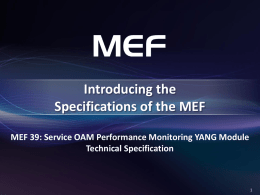 MEF 39 - Service OAM Performance Monitoring YANG Modules Technical