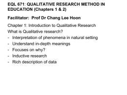 Chapter 1: Introduction to Qualitative Research