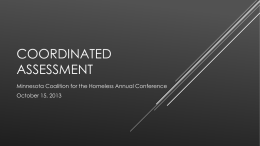 Coordinated Assessment - Minnesota Coalition for the Homeless