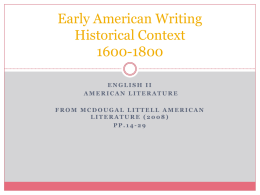 American Lit Historical Overview