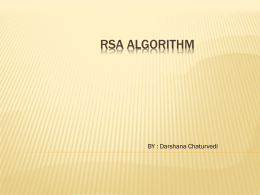 RSA-Algorithm - Department of Computer Science