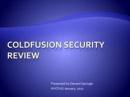 ColdFusion Security review
