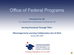 2013 Preschool PowerPoint - Mississippi Department of Education