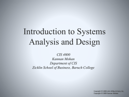 Introduction to Analysis and Design - Faculty Web Server