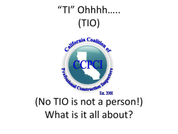 Jim Burlew Power Point on TIO Program
