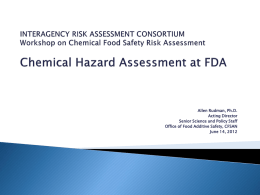 Chemical Hazard Assessment at FDA