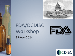 FDA/DCDISC Workshop