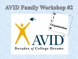 AVID Family Workshop #2 W I C Organization R