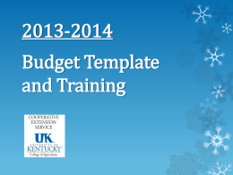 2013-2014 Budget Template