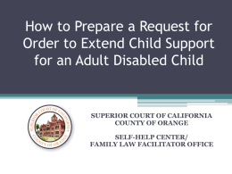 Extend Child Support for an Adult Disabled Child