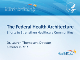 The Federal Health Architecture