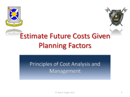 11.4 Estimate Future Costs Given Planning Factors