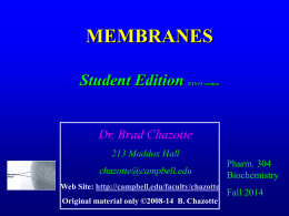 Biochemistry 304 2014 Student Edition Membranes