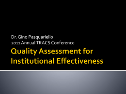 Quality Assessment for Institutional Effectiveness