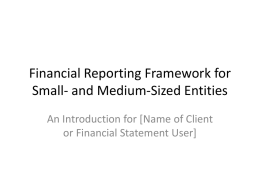 Financial Reporting Framework for Small- and Medium