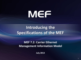 MEF 7.2: Carrier Ethernet