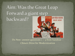 Was the Great Leap Forward a giant step backward?